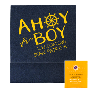 Our custom Stardream Navy Tea Favor with Matte Sunflower Foil has a Nautical graphic and is good for use in Beach/Nautical and Baby Shower themed parties and can be personalized to match your party's exact theme and tempo.