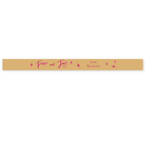 "The ever-popular Gold Satin Ribbon 7/8"" with Shiny Fuchsia Foil has a Twilight graphic and is good for use in Stars, Holiday and Christmas themed parties and gift giving and will add that special attention to detail that cannot be overlooked."