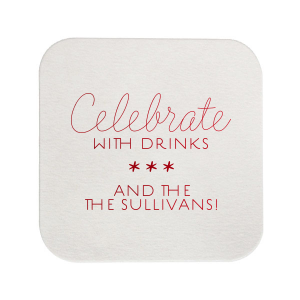 ForYourParty's chic Silver with Black back Deco Coaster with Shiny Convertible Red Foil Color will make your guests swoon. Personalize your party's theme today.