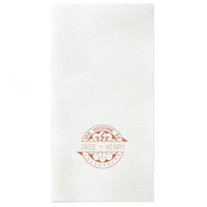 ForYourParty's elegant Black Linen Like Dinner Napkin with Satin Copper Penny Foil Color has a Wedding Badge graphic and is good for use in Wedding themed parties and are a must-have for your next event.