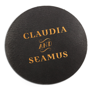 The ever-popular Eggshell Round Coaster with Shiny Merlot Foil will make your guests swoon. Personalize your party's theme today.