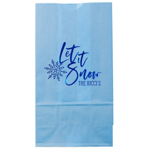 Custom Azure Blue Goodie Bag with Shiny Royal Blue Foil has a Snowflake graphic and is good for use in Delphine themed parties and couldn't be more perfect. It's time to show off your impeccable taste.