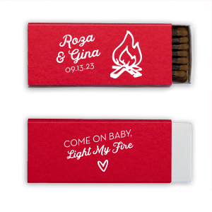ForYourParty's personalized Poptone Convertible Red Riviera Matchbox with Matte White Foil has a Campfire and a fire pun and is great for Weddings, Anniversaries and celebrations and will give your party the personalized touch every host desires.