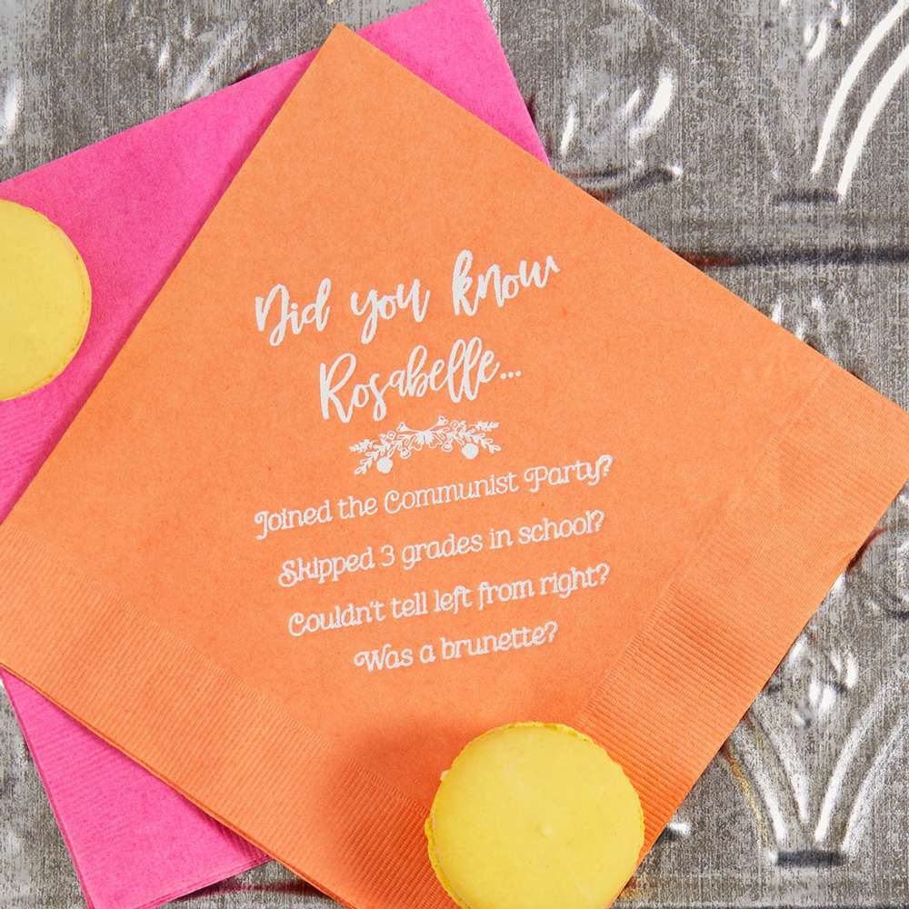 creative trivia luncheon napkin for parties