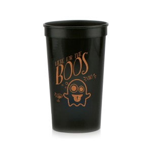 Our personalized Black 16 oz Stadium Cup with Copper Ink Cup Ink Colors has a Ghost 2 graphic and is good for use in Halloween themed parties and will make your guests swoon. Personalize your party's theme today.