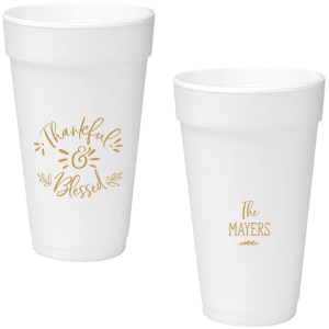 Our custom Gold Ink 20 oz Styrofoam Cup with Gold Ink Cup Ink Colors can't be beat. Showcase your style in every detail of your party's theme!