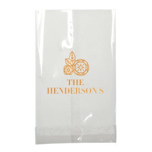 Personalized White Goodie Bag with Shiny Copper Foil Color has a Geo Flowers graphic and is good for use in Floral themed parties and can be personalized to match your party's exact theme and tempo.
