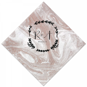 This trendy Marble Taupe napkin with its Leaf Wreath design is perfect to personalize with the bride and groom's initials for an earthy addition to any engagement party, rehearsal dinner or wedding reception.