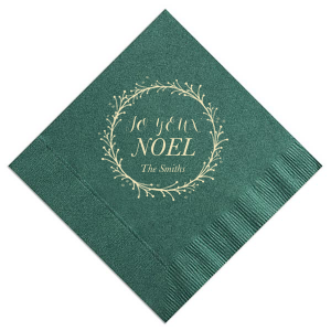 ForYourParty's personalized Spruce Cocktail Napkin with Matte Ivory Foil Color has a Wreath Invitation graphic and is good for use in Lovely Press themed parties and can be customized to complement every last detail of your party.