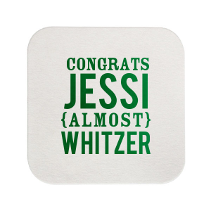 The ever-popular Eggshell Square Coaster with Shiny Leaf Foil can be personalized to match your party's exact theme and tempo.