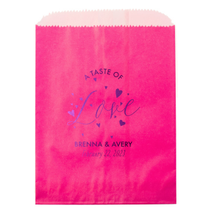 Our personalized Hot Pink Party Bag with Shiny Amethyst Foil has a Love Hearts graphic and is good for use in Love, Wedding, Anniversary themed parties and will make your guests swoon. Personalize your party's theme today.