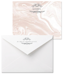 Our custom Marble Blush Grande Card with Matte Slate Gray Foil has a Leaf Frame graphic and will look fabulous with your unique touch. Your recipients will agree!