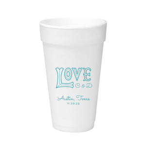 Customize this cup for themed wedding barware your guests will enjoy. Featuring our Love word art, add the bride and groom's initials, wedding location and date for a personal touch. Perfect for a casual or outdoor reception, these foam cups can hold either hot or cold drinks.