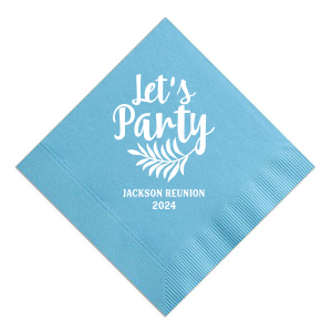 Custom Turquoise Cocktail Napkin with Matte White Foil Color has a Leaves graphic and is good for use in Reunion themed parties and will impress guests like no other. Make this party unforgettable.