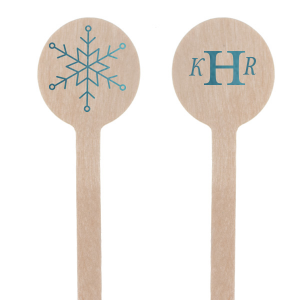 Custom Shiny Turquoise Round Stir Stick with Shiny Turquoise Foil has a Snowflake graphic and is good for use in Holiday, New Years, Christmas themed parties and can be customized to complement every last detail of your party.