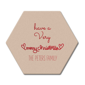 The ever-popular Kraft with Blush back Nouveau Coaster with Shiny Convertible Red Foil has a Merry Christmas Hearts graphic and is good for use in Christmas, Warm-Hearted themed parties and can be personalized to match your party's exact theme and tempo.