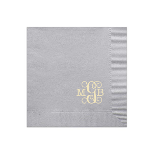 ForYourParty's elegant Dove Gray Luncheon Napkin with Shiny Sterling Silver Foil will make your guests swoon. Personalize your party's theme today.