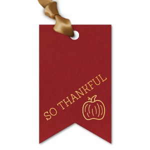 Custom Natural Merlot Double Point Gift Tag with Shiny 18 Kt Gold Foil has a Pumpkin graphic and is good for use in Thanksgiving and Holiday themed parties and will look fabulous with your unique touch. Your guests will agree!