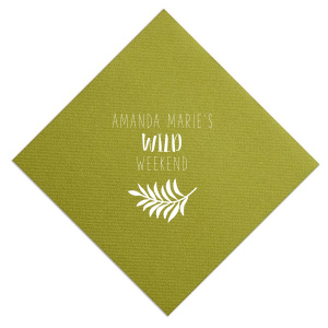 Custom Moss Green Dinner Napkin with Matte White Foil Color has a Leaves graphic and is good for use in Floral themed parties and will impress guests like no other. Make this party unforgettable.