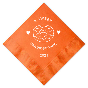 Our beautiful custom Tangerine Cocktail Napkin with Matte White Foil has a Donut graphic and is good for use in Food, Birthday themed parties and can be personalized to match your party's exact theme and tempo.