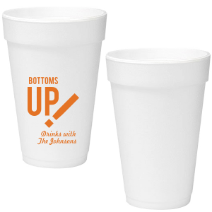 Our personalized Matte Tangerine Ink 16 oz Foam Cup with Matte Tangerine Ink Cup Ink Colors has a Beer Toast graphic and is good for use in Drink themed parties and couldn't be more perfect. It's time to show off your impeccable taste.