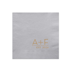 Our personalized Dove Gray Cocktail Napkin with Shiny Turquoise Foil will give your party the personalized touch every host desires.
