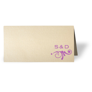 ForYourParty's personalized Stardream Ivory Signature Place Card with Satin Plum Foil has a Decorative Flourish 2 graphic and is good for use in Accents themed parties and can be customized to complement every last detail of your party.