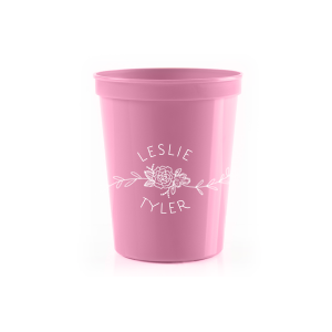 The ever-popular Light Pink 16 oz Stadium Cup with Matte White Ink Cup Ink Colors has a Peony Flourish 2 graphic and is good for use in Floral themed parties and can be personalized to match your party's exact theme and tempo.