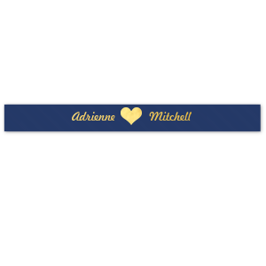 "Our custom Navy 7/8"" Satin Ribbon with Shiny 18 Kt Gold Foil has a Heart Solid graphic and is good for use in Heart, Love, Wedding themed parties and couldn't be more perfect. It's time to show off your impeccable taste."
