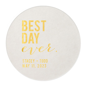 Personalized Eggshell Square Coaster with Shiny 18 Kt Gold Foil can be customized to complement every last detail of your party.