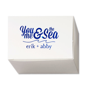 Our custom Natural White Pillow Box with Shiny Royal Blue Foil has a Wave Flourish graphic and is good for use in Beach/Nautical, Accents themed parties and can be personalized to match your party's exact theme and tempo.