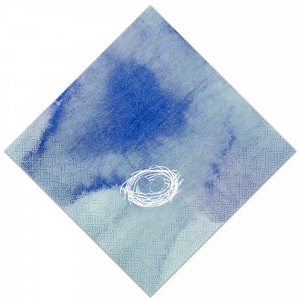 The ever-popular Watercolor Blue Sky Cocktail Napkin with Matte White Foil has a Nest graphic and is good for use in Baby Showers, Easter gatherings and  Animal themed parties and can be customized to complement every last detail of your party.
