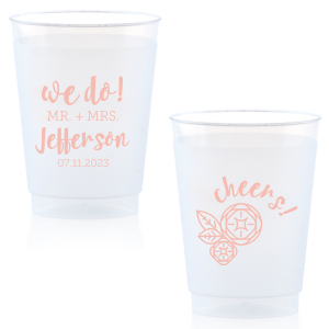"Say ""We do"" to flawless personalized party accessories! Customize cups for a cheery bar and table addition that guests can also take home as personalized party favors. Add the happy couple's newly shared last name and their wedding date to our modern script text and Flower graphic."