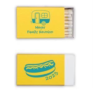ForYourParty's personalized Poptone Yellow Classic Matchbox with Matte Teal/Peacock Foil Color has a Camper graphic and a Hot Dog graphic and is good for use in Food themed parties and will make your guests swoon. Personalize your party's theme today.
