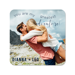 Our beautiful custom White Photo/Full Color Square Coaster with Matte Navy Ink Digital Print Colors can be personalized to match your party's exact theme and tempo.
