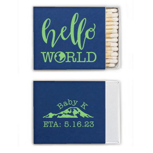 Our custom Natural Royal Classic Matchbox with Matte Key Lime Foil Color has a Hello World graphic and a Mountain graphic and is good for use in Travel themed parties and will give your party the personalized touch every host desires.