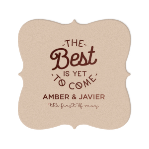 Our personalized Silver with Black back Nouveau Coaster with Matte Chocolate Foil Color has a The Best 2 graphic and is good for use in Words themed parties and can be personalized to match your party's exact theme and tempo.