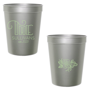 The ever-popular Silver 16 oz Stadium Cup with Matte Mint Ink Cup Ink Colors has a Accent The graphic and a Peony Accent graphic and is good for use in Floral, Accents themed parties and will add that special attention to detail that cannot be overlooked.