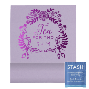 Personalized Poptone Lavender Tea Favor with Shiny Amethyst Foil Color has a Rustic Floral Frame graphic and is good for use in Frames, Wedding, Anniversary themed parties and will give your party the personalized touch every host desires.