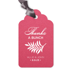 Our beautiful custom Stardream Fuschia Arch Gift Tag with Matte White Foil has a Leaves graphic and is good for use in Floral themed parties and will impress guests like no other. Make this party unforgettable.