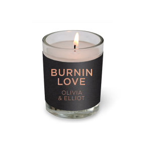 ForYourParty's personalized Natural Black Votive Candle with Shiny Rose Gold Foil Color can be personalized to match your party's exact theme and tempo.