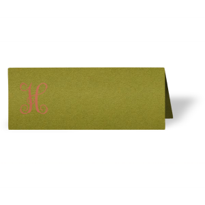 Our custom Poptone Dark Olive Runway Place Card with Satin Copper Penny Foil will make your guests swoon. Personalize your party's theme today.
