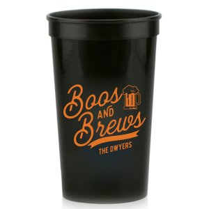 ForYourParty's elegant Black 16 oz Stadium Cup with Matte Tangerine Ink Cup Ink Colors has a Brew graphic and is good for use in Drinks themed parties and can be personalized to match your party's exact theme and tempo.