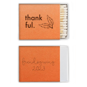 ForYourParty's elegant Stardream Orange Classic Matchbox with Matte Chocolate Foil has a Leaf Pair graphic and is good for use in Floral, Thanksgiving and Outdoors themed parties and can be customized to complement every last detail of your party.