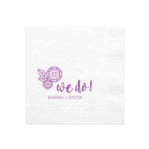 "Say ""I do"" to flawless personalized party accessories! Customize this modern flower graphic with the wedding theme colors and couple's names for a bar or appetizer complement fitting for an engagement party, couples shower or wedding reception."