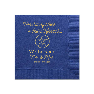 Bring your wedding party to the beach! With our Sand Dollar graphic, cute saying and script font, these blue napkins will. Personalize with your names for a breezy complement to any destination wedding hors d'oeuvre and bar.