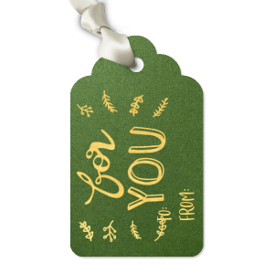 Custom Stardream Leaf Luggage Gift Tag with Shiny 18 Kt Gold Foil has a Season's Greetings Holly graphic and is good for use in Holiday, Christmas, Words themed parties and can be customized to complement every last detail of your party.