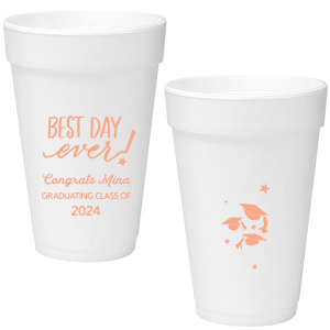 The ever-popular Matte Light Coral Ink 12 oz Styrofoam Cup with Matte Light Coral Ink Cup Ink Colors has a Best Day Ever graphic and a Caps Thrown graphic and is good for use in Graduation themed parties and can be personalized to match your party's exact theme and tempo.