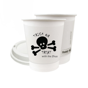 Our personalized 8 oz Paper Coffee Cup with Lid with Matte Black Ink has a Skull & Crossbones graphic and is good for use in Halloween themed parties and will make your guests swoon. Personalize your party's theme today.