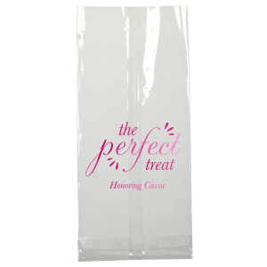 Personalized White Party Bag with Shiny Fuchsia Foil will add that special attention to detail that cannot be overlooked.